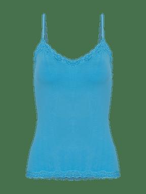 Camiseta AlÇas Finas Em Modal E Detalhe Em Renda Capri