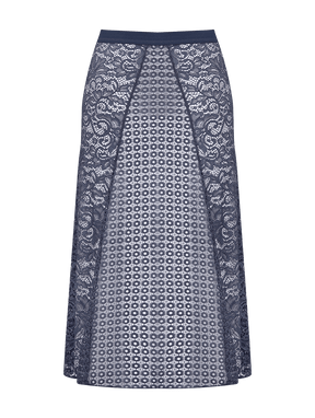 Saia Midi Em Renda Azul Granito