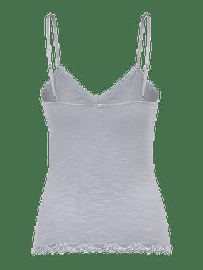 Camiseta AlÇas Finas Em Modal E Detalhe Em Renda Mescla