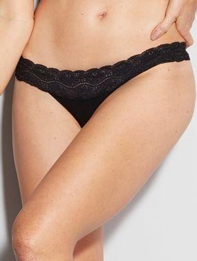 Calcinha BiquÍni Em Microfibra Com CÓs De Renda Nude Preto