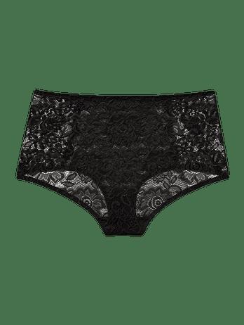 Calcinha Hot Pants De Renda E Laise Preto