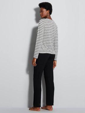 Pijama Longo Em Viscose Zen Off White C/ Listrado Preto