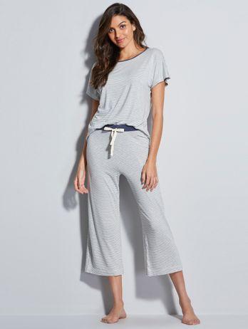 Pijama Pantacourt Listrado Listrado Mescla E Off White