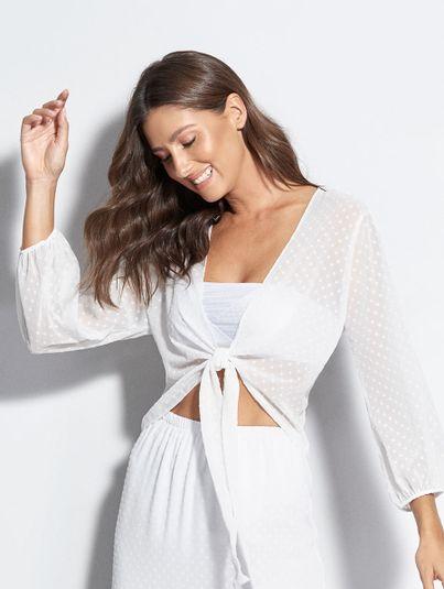Camisa Com Amarração Frontal Branco