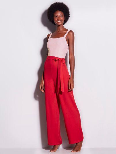 Macacão Pantalona Bicolor Bicolor Vermelho E Rosa