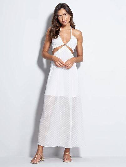 Vestido Longo Decote Franzido Branco