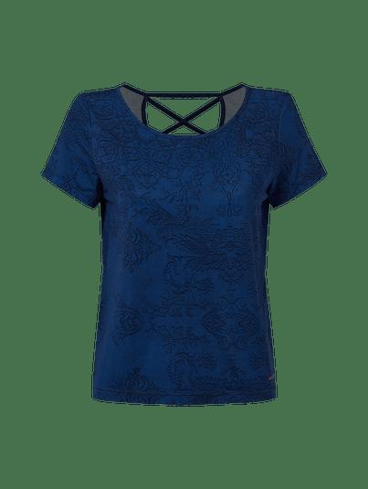 T-shirt Abertura Costas Arabesco Marinho