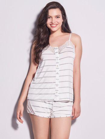 Pijama Short Doll Em Renda E Viscose Maya Off White