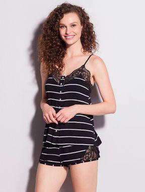 Pijama Short Doll Em Renda E Viscose Maya Preto