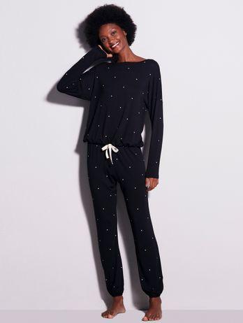 Pijama Longo Em Viscose Dreams Preto Com Poa Off White