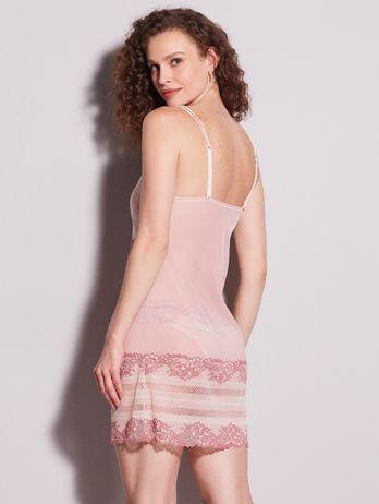 Camisola Alças Finas Duplas Em Renda E Tule Rosa Agata