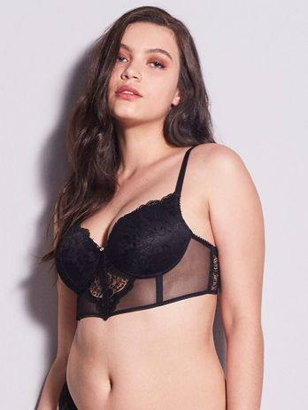 Sutiã Mini Corselet Push Up Em Renda E Tule Preto