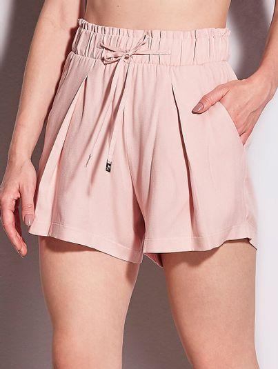 Shorts Amplo Com Bolsos Rosa Lotus