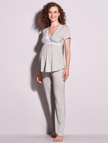 Pijama Longo Em Viscose E Renda Maternity Cinza Mescla Claro