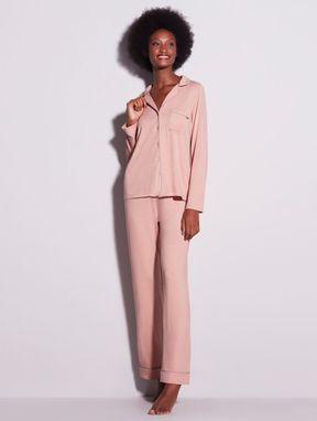 Pijama Longo Em Viscose Com Vivo Contrastante Flora Rosa Sonho