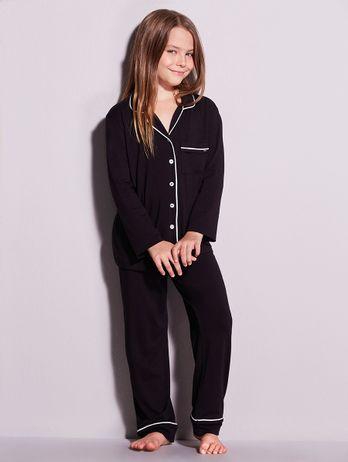 Pijama Longo Em Viscose Com Vivo Contrastante Infantil Flora Preto