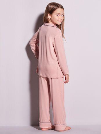 Pijama Longo Em Viscose Com Vivo Contrastante Infantil Flora Rosa Sonho