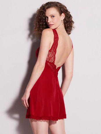 Camisola Regata Em Renda E Microfibra Dip Lace Vermelho Zaire