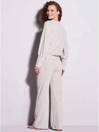 Pijama Longo Pantalona Em Plush Agnes Cinza Mescla Claro