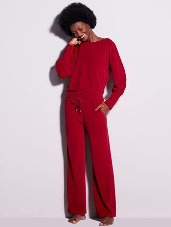 Pijama Longo Pantalona Em Plush Agnes Vermelho Zaire