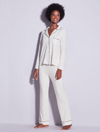 Pijama Longo Em Viscose Com Vivo Contrastante Flora Off White