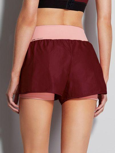 Shorts Runner Cós Alto Bicolor Vinho E Rosa
