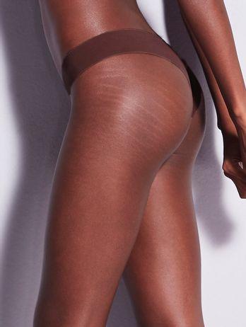 Calcinha Biquíni Em Microfibra Nude Marrom Cacau