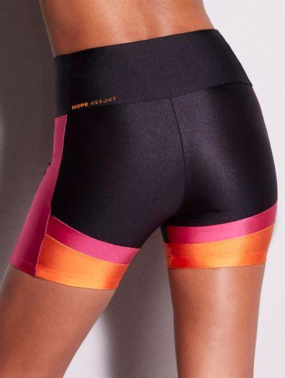 Shorts Fit Block Tri Preto/rosa/laranja