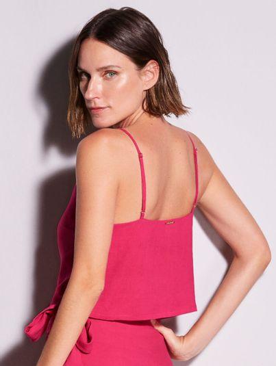 Blusa Cropped Alças Finas Com Botões Rosa Orquidea