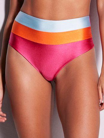 Biquíni Hot Pants Recortes Tri Azul/laranja/rosa