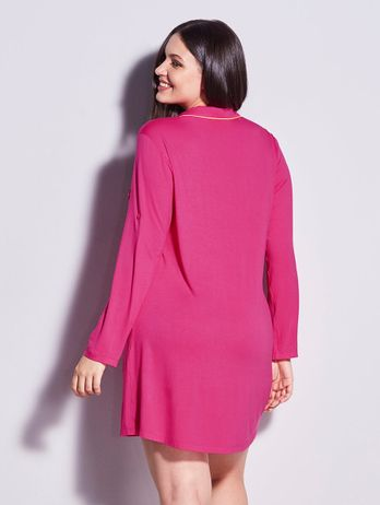 Camisão Em Viscose Com Vivo Contrastante Flora Pink Hibisco