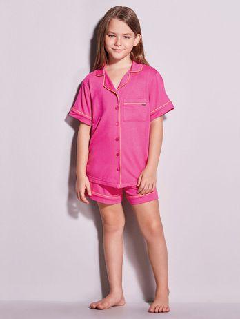 Short Doll Em Viscose Com Vivo Contrastante Flora Infantil Pink Hibisco