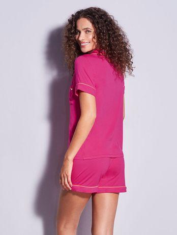 Short Doll Em Viscose Com Vivo Contrastante Flora Pink Hibisco