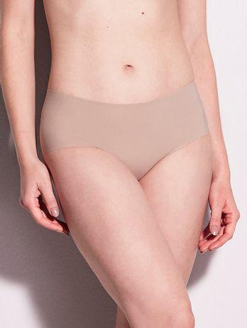 Calcinha Cintura Alta Em Microfibra Nude Bege Camurca