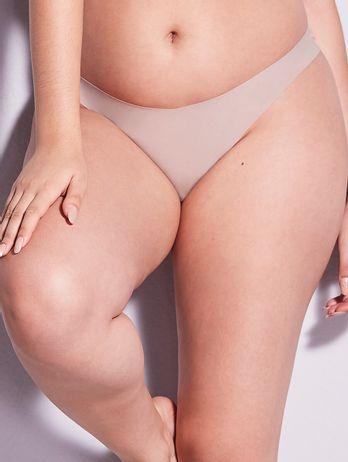 Calcinha Fio Dental Em Microfibra Nude Bege Camurca