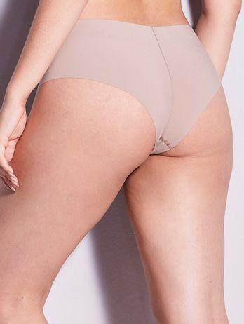 Calcinha Tanga Brasileira Em Microfibra Nude Bege Camurca