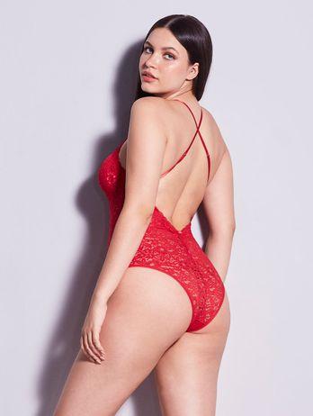 Body De Renda Vermelho Angelina