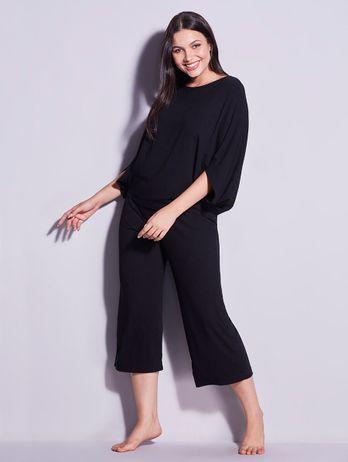 Pijama Longo Canelado Preto